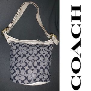 COACH Bleecker Signature Denim Bucket Bag 11586